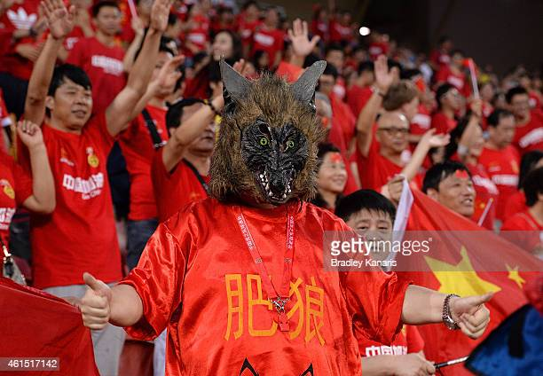 Chinese fans supports his team during the 2015 Asian Cup match between China PR and Uzbekistan at Suncorp Stadium on January 14 2015 in Brisbane...