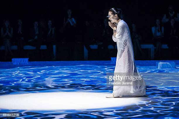 Chinese fashion designer Lan Yu attends the Lan YU show as part of Paris Fashion Week Haute Couture Fall/Winter 20142015 at Grand Palais on July 9...