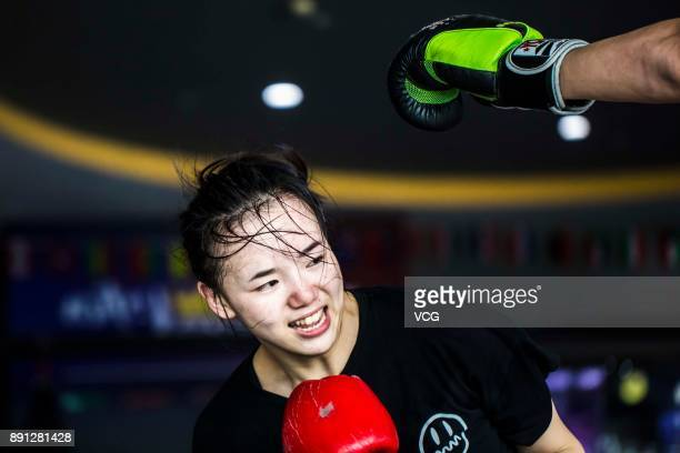 Chinese fighter Lin Heqin attends a Thai boxing training at Guangdong Olympic Centre Stadium on November 28 2017 in Guangzhou Guangdong Province of...