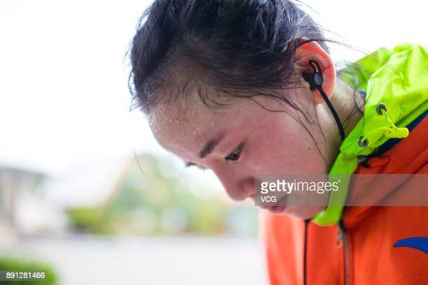 Chinese fighter Lin Heqin sweats after 10 km running at Guangdong Olympic Centre Stadium on November 28 2017 in Guangzhou Guangdong Province of China...