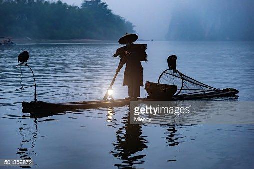 Chinese Fisherman Li River Sunrise Fog