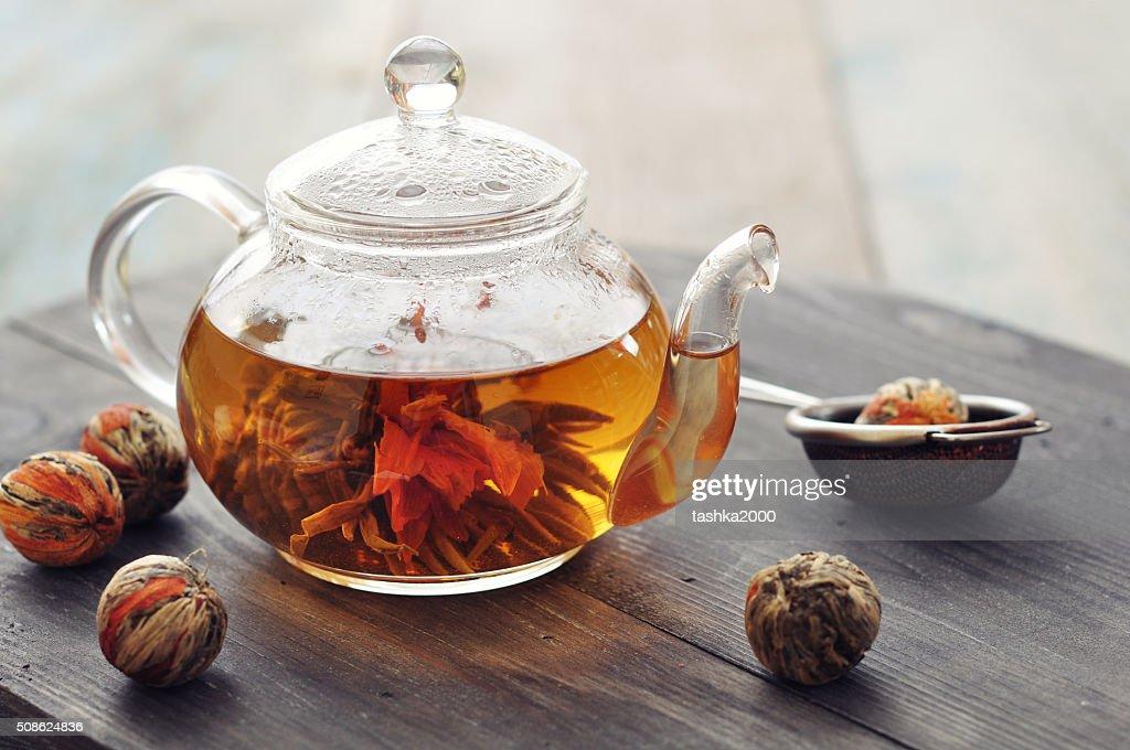 Chinese flowering tea : Stock Photo