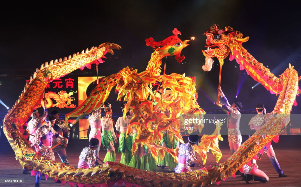 Chinese folk artists perform dragon dance to celebrate the Lantern Festival on February 6, 2012 in Chongqing, China. The Lantern Festival, which falls on the 15th day of the first month of the Lunar New Year, will fall on February 6, 2012.