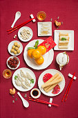Flat lay Chinese new year reunion dinner food and drink still life. Texts appear in image: Prosperity, spring, good luck.