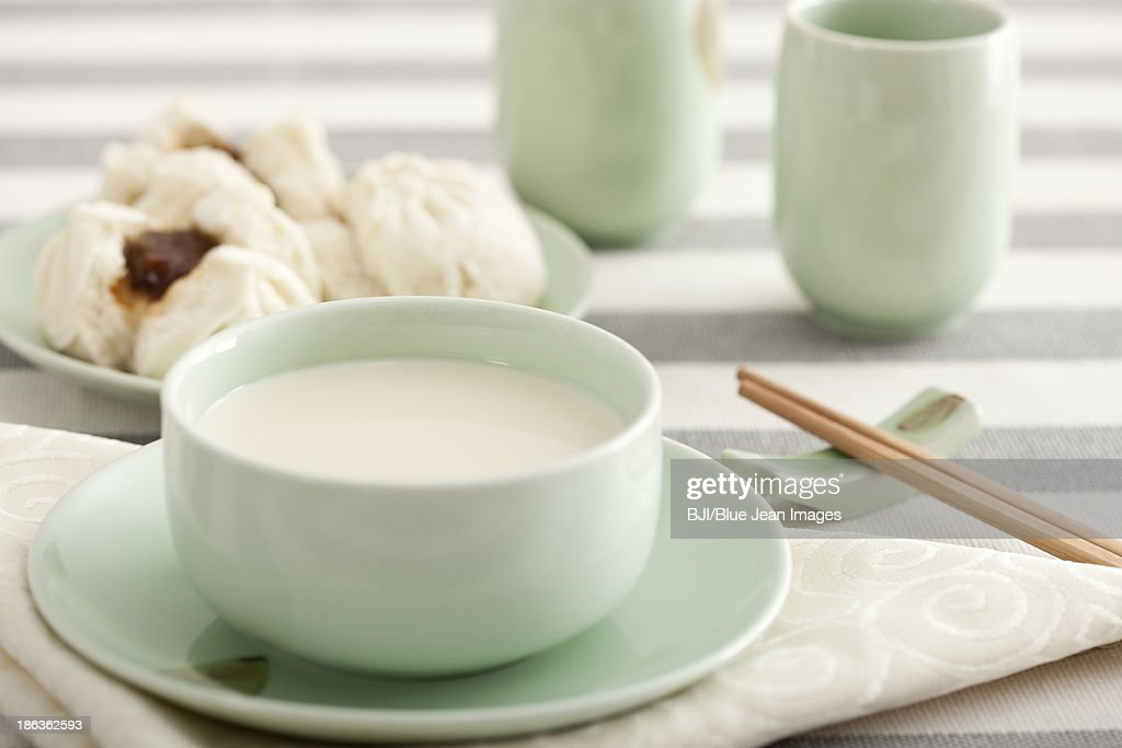 Chinese food soybean milk and cantonese barbecued pork buns : Stock Photo