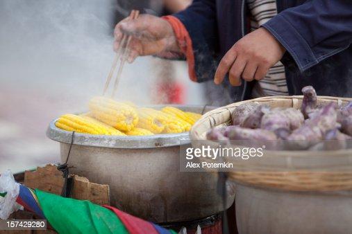 Chinese food, street seller. Kunming, Yunnan province, South China.