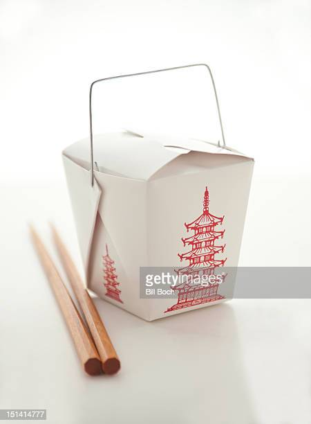 Chinese food take-out box on white
