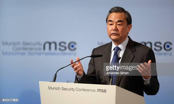 Chinese Foreign Minister Wang Yi addresses the audience at the 2017 Munich Security Conference on February 17 2017 in Munich Germany The 2017 Munich...