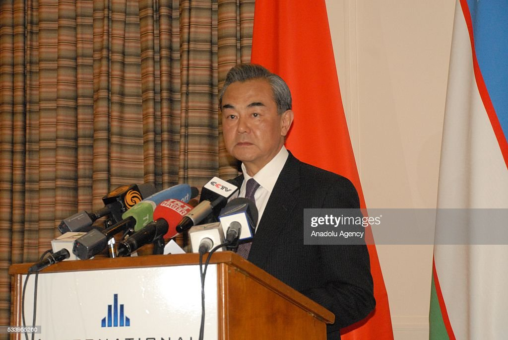 Chinese Foreign Minister Wang Yi attends a press conference after the Member State Foreign Ministers of Shanghai Cooperation Organization (SCO) meeting in Tashkent, Uzbekistan on May 24, 2016.
