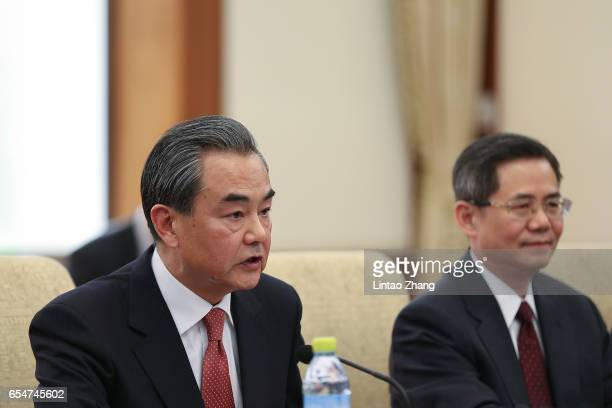 Chinese Foreign Minister Wang Yi during a meeting with US Secretary of State Rex Tillerson at Diaoyutai State Guesthouse on March 18 2017 in Beijing...