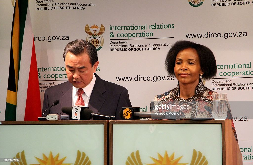Chinese Foreign Minister <a gi-track='captionPersonalityLinkClicked' href=/galleries/search?phrase=Wang+Yi+-+Politician&family=editorial&specificpeople=13620429 ng-click='$event.stopPropagation()'>Wang Yi</a> (L) holds a joint press conference with South Africa's Minister of International Relations and Cooperation <a gi-track='captionPersonalityLinkClicked' href=/galleries/search?phrase=Maite+Nkoana-Mashabane&family=editorial&specificpeople=3056332 ng-click='$event.stopPropagation()'>Maite Nkoana-Mashabane</a> (R) in Pretoria, South Africa on April 14, 2015.