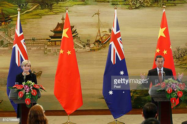 Chinese Foreign Minister Wang Yi speaks during a joint press conference with Australian Foreign Minister Julie Bishop at the Ministry of Foreign...