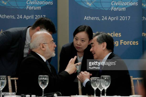 Chinese Foreign Minister Wang Yi with his Iraqi counterpart Ibrahim alJaafari during the quotAncient Civilizations Forumquot at Zappeion Hall in...