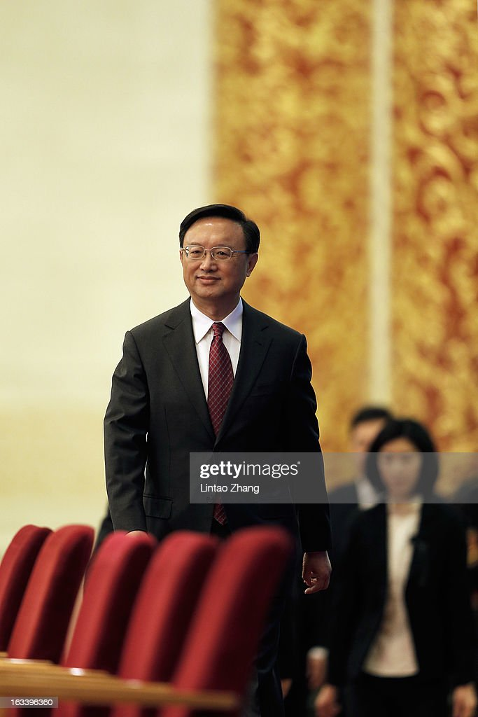 Chinese Foreign Minister <a gi-track='captionPersonalityLinkClicked' href=/galleries/search?phrase=Yang+Jiechi&family=editorial&specificpeople=555098 ng-click='$event.stopPropagation()'>Yang Jiechi</a> arrives for a press conference at the Great Hall of the People on March 9, 2013 in Beijing, China. Jiechi spoke on China's desire to defuse tensions on the Korean Peninsula, while also addressing the US's role in Asia-Pacific issues and China's growth in relations with Africa.