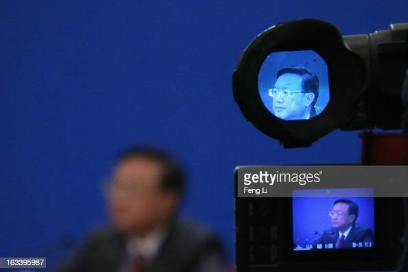 Chinese Foreign Minister Yang Jiechi attends a news conference in Beijing's Great Hall of the People on March 9 2013 in Beijing China China's new...