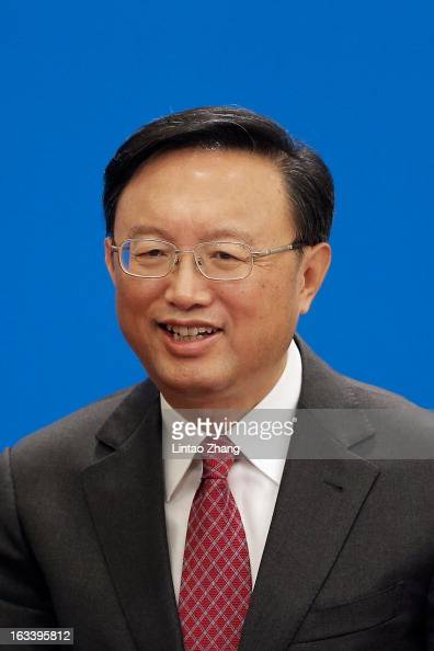 Chinese Foreign Minister Yang Jiechi looks on during a press conference at the Great Hall of the People on March 9 2013 in Beijing China Jiechi spoke...