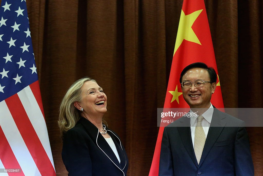 Chinese Foreign Minister Yang Jiechi (R) meets with US Secretary of State Hillary Clinton (L) in Beijing on September 4, 2012.