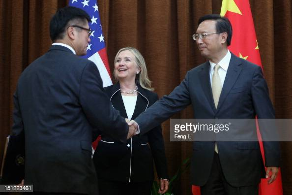 Chinese Foreign Minister Yang Jiechi meets with US Secretary of State Hillary Clinton and US Ambassador to China Gary Locke in Beijing on September 4...