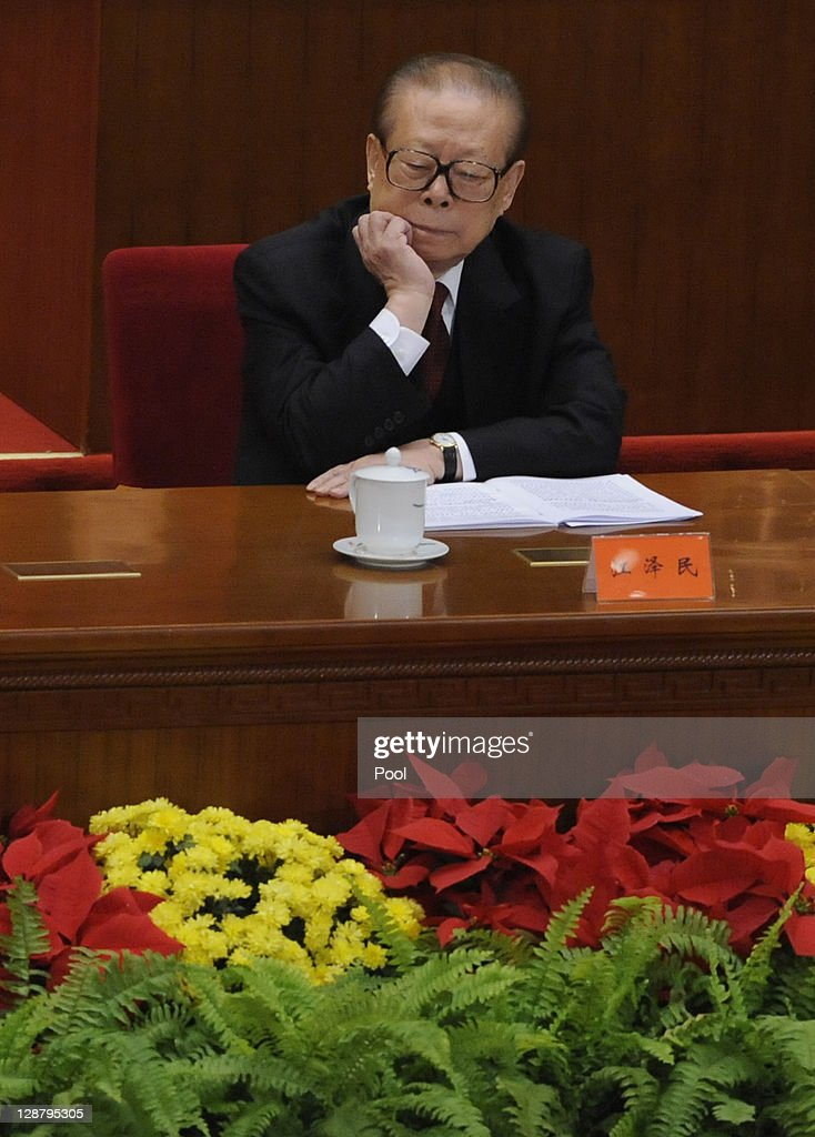 Chinese former president Jiang Zemin attends the Commemoration of the 100th anniversary of the Xinhai Revolution at the Great Hall of the People on...
