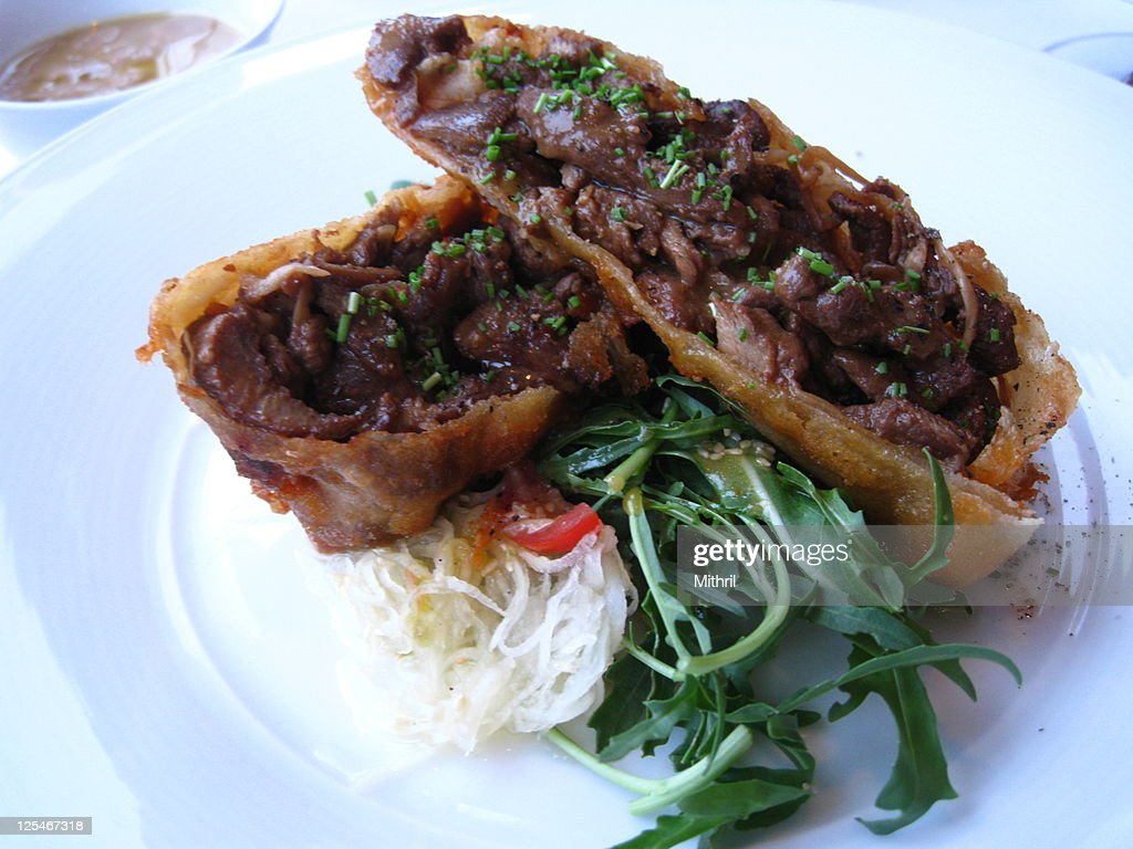 Chinese fried spring roll with meat : Stock Photo