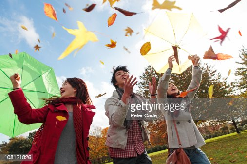 Chinese friends throwing leaves in park in autumn : Stock Photo