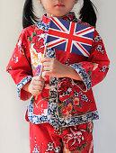 Chinese Girl Holding British Flag