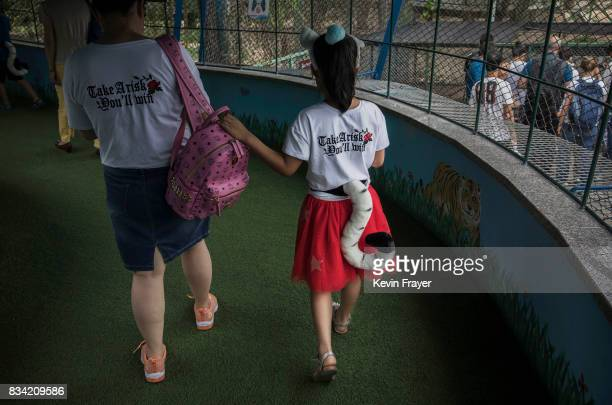 A Chinese girl wears a souvenir tiger tail as she walks in the Siberian tiger viewing area at the Heilongjiang Siberian Tiger Park on August 16 2017...