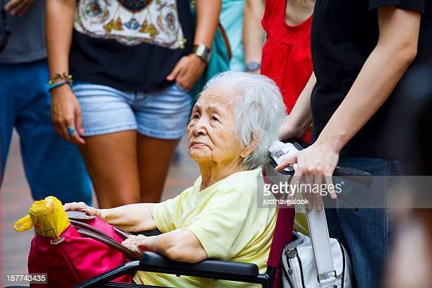 Chinese grandma in wheelchair