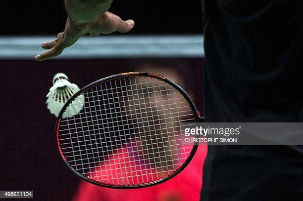 Chinese Guo K takes part in a Rio 2016 Olympic Games badminton test event against Mexican Lino Munoz in Rio de Janeiro Brazil on November 24 2015 /...