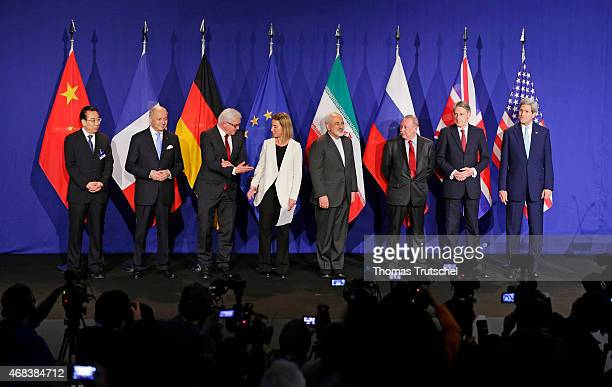 Chinese Head of Delegation French Foreign Minister Laurent Fabius German Foreign Minister FrankWalter Steinmeier EU foreign policy chief Federica...
