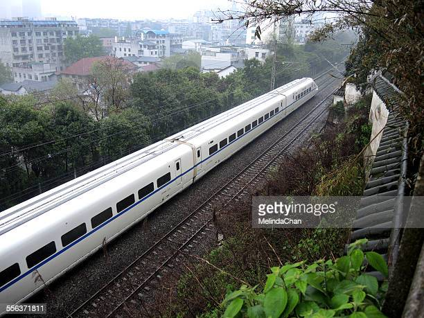 Chinese high speed train (CRH) through the city