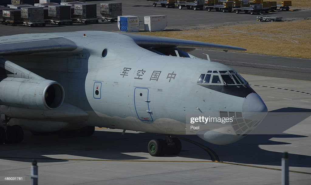 A Chinese Ilyushin IL-76 aircraft prepares to fly out from Perth International Airport to assist with the international search effort trying to locate missing Malaysia Airways Flight MH370 on April 16, 2014 in Perth, Australia. Twenty-six nations have been involved in the search for Malaysia Airlines Flight MH370 since it disappeared more than a month ago.
