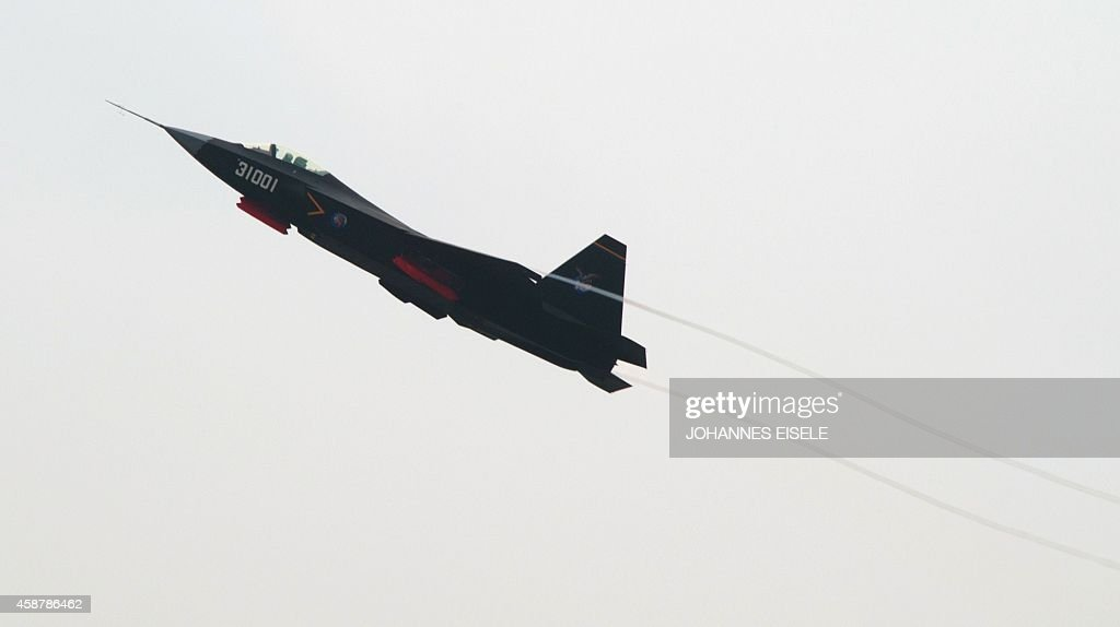 A Chinese J31 stealth fighter performs at the Airshow China 2014 in Zhuhai south China's Guangdong province on November 11 2014 Global aviation firms...