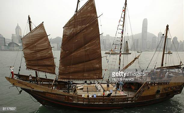 Chinese Junk the Kublai Kahn sails through Hong Kong's Victoria Harbour 21 March 2004 Two German adventurers will use the 27metre junk to retrace...