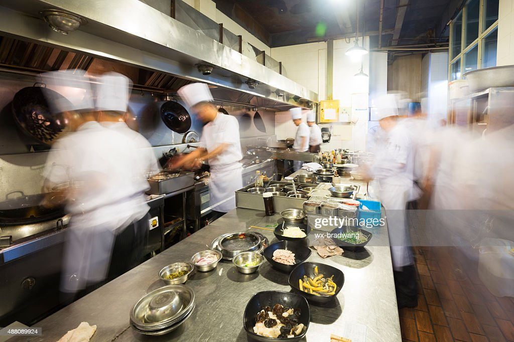 Charming Chinese Kitchen Busy At Work : Stock Photo