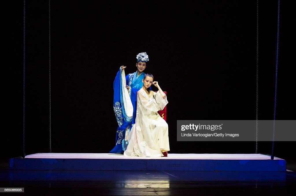 Chinese Kunqu Opera singer Yu Xuejiao and dancer Wang Qimin perform in the American premiere of the National Ballet of China's production of 'The...