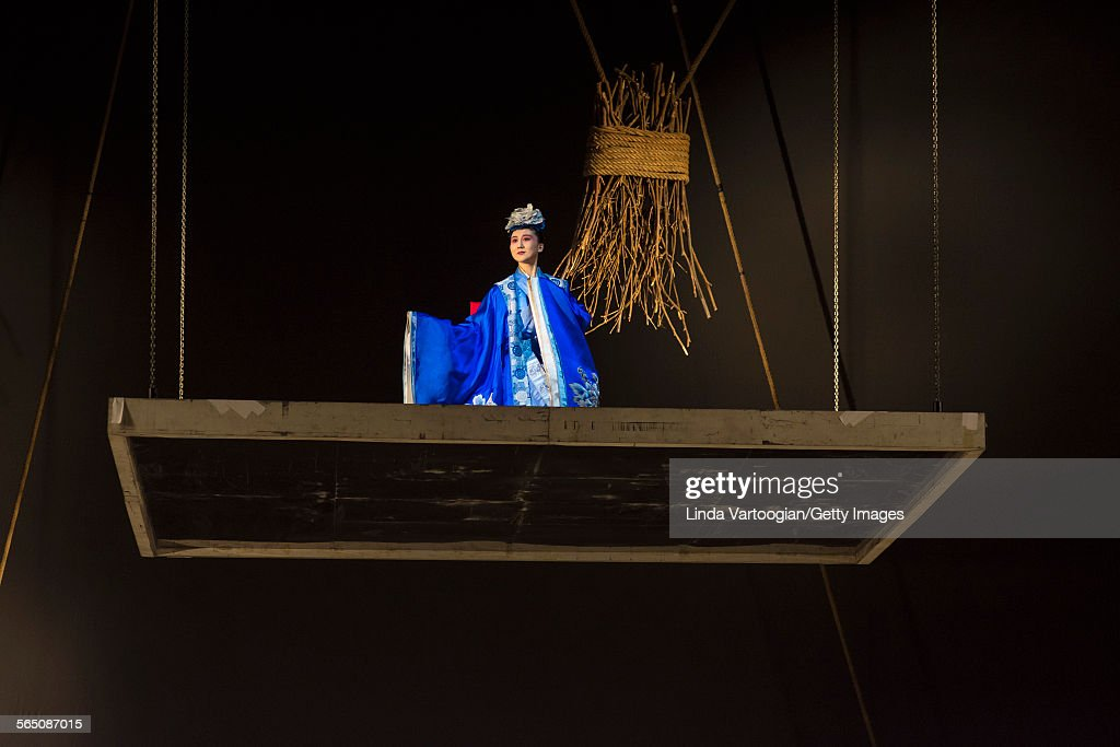 Chinese Kunqu Opera singer Yu Xuejiao performs in the American premiere of the National Ballet of China's production of 'The Peony Pavilion' as part...