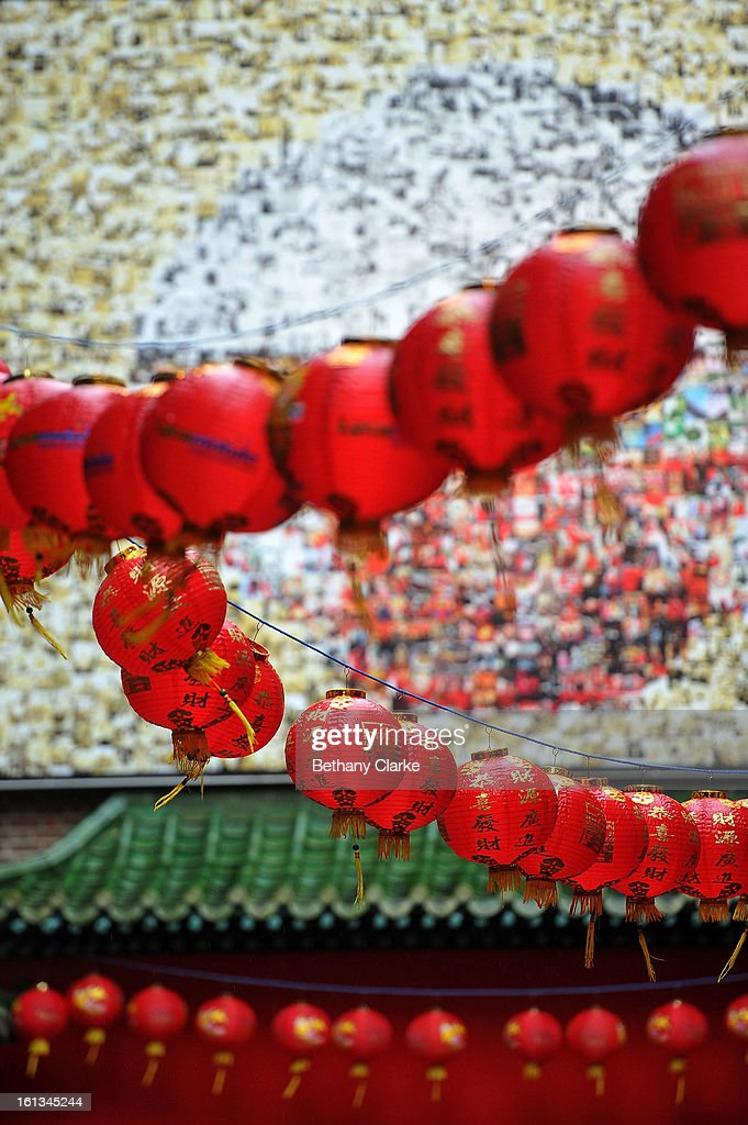 Chinese lanterns decorate China Town on February 10, 2013 in London, England. London's Chinese community celebrate the start of the Year of The Snake with traditional dancing, music and fireworks.