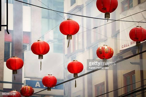 Chinese lanterns lining a street