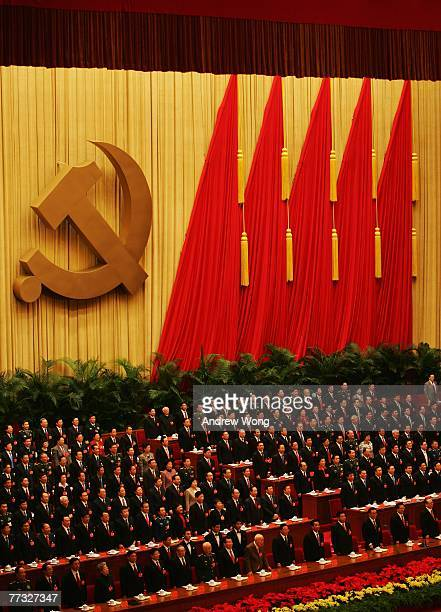 Chinese leaders attend the opening session of the fiveyearly Chinese Communist Party Congress at the Great Hall of the People on October 15 2007 in...