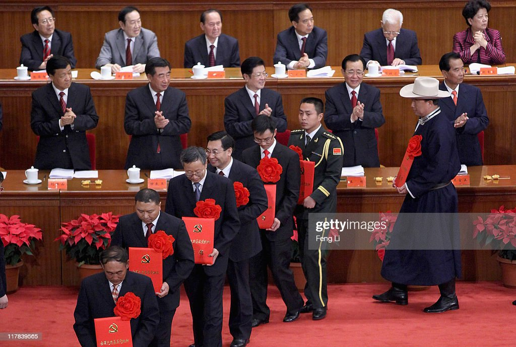 Chinese leaders award medals for the outstanding Communists during the celebration of the Communist Party's 90th anniversary at the Great Hall of the People on July 1, 2011 in Beijing, China.