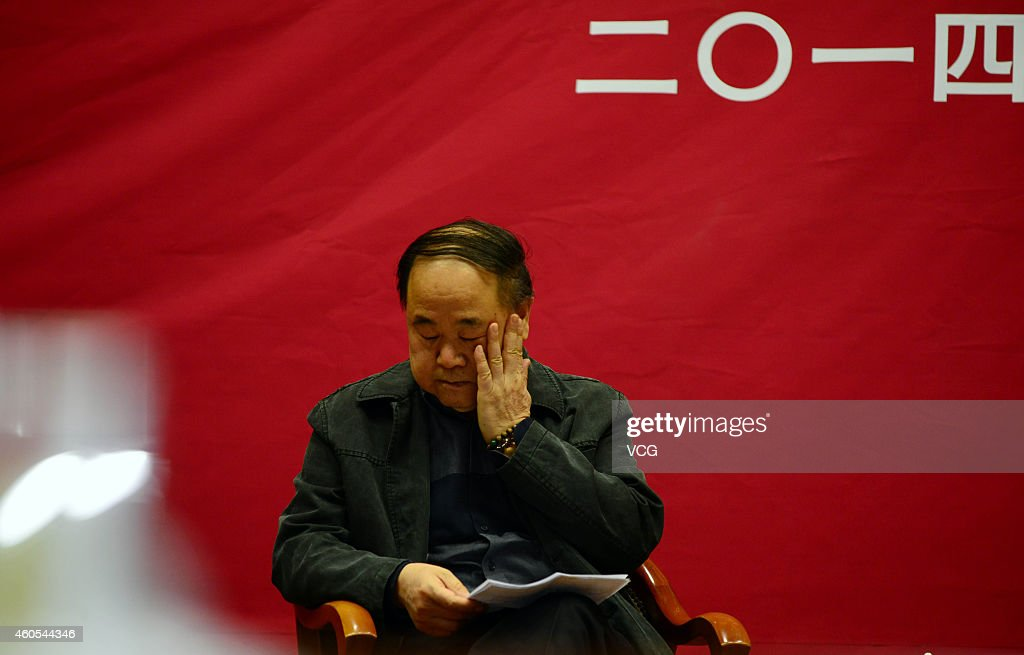 Chinese Literature Nobel laureate <a gi-track='captionPersonalityLinkClicked' href=/galleries/search?phrase=Mo+Yan&family=editorial&specificpeople=3971964 ng-click='$event.stopPropagation()'>Mo Yan</a> talks about 'Literature and Life' at Shandong University on December 16, 2014 in Jinan, Shandong province of China. French Literature Nobel laureate Jean-Marie Gustave Le Clezio and Chinese Literature Nobel laureate <a gi-track='captionPersonalityLinkClicked' href=/galleries/search?phrase=Mo+Yan&family=editorial&specificpeople=3971964 ng-click='$event.stopPropagation()'>Mo Yan</a> attend a dialogue with the theme of 'Literature and Life' on Tuesday in Shandong.