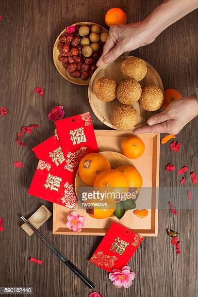 Chinese lunar new year food serving table top shot.