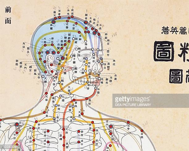 Chinese Medicine Acupuncture Focal points of the human body The head Watercolor from 'Nei Tsing'