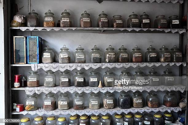 Chinese medicine shop at Kashgar, Xinjiang Province, China