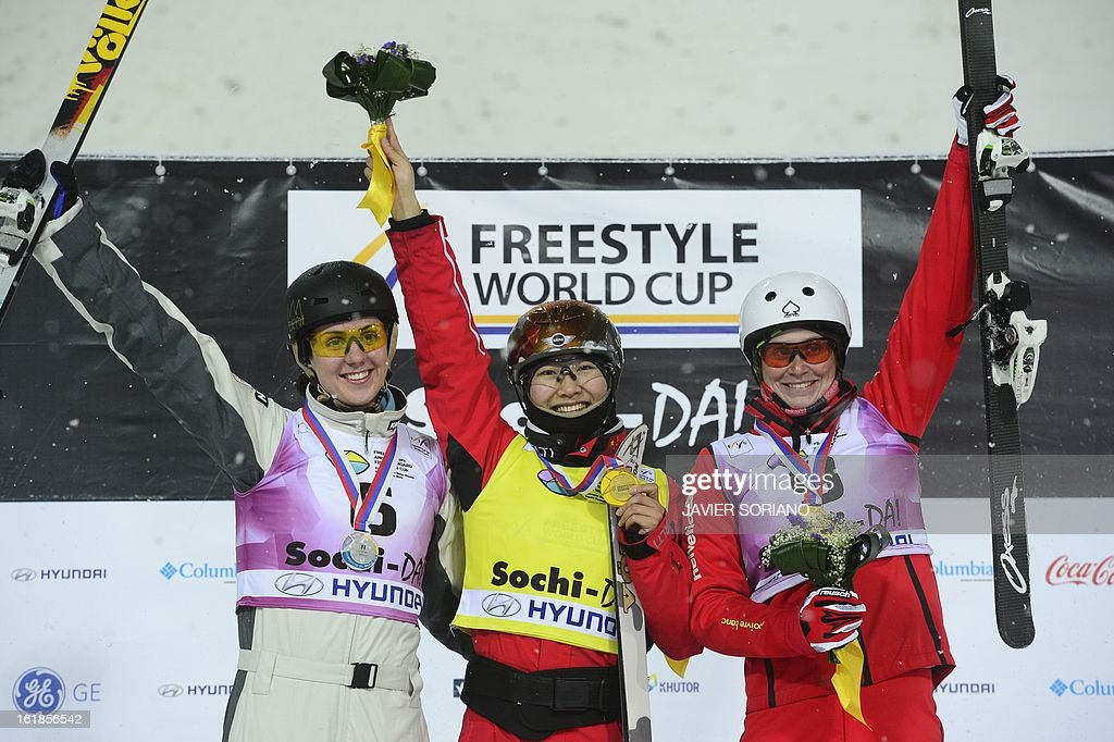 Chinese Mengtao Xu (C), Australian Laura Peel (L) and Swiss Tanja Schaerer pose on podium after the Ladies' FreeStyle Aerials final race at the Snowboarding and Free Style World Cup Test Event at the Snowboard and Free Style Centre in Rosa Khutor near the Russian Black Sea resort of Sochi on February 17, 2013. Chinese Mengtao Xu won the race ahead of Australian Laura Peel and Swiss Tanja Schaerer. AFP PHOTO / JAVIER SORIANO