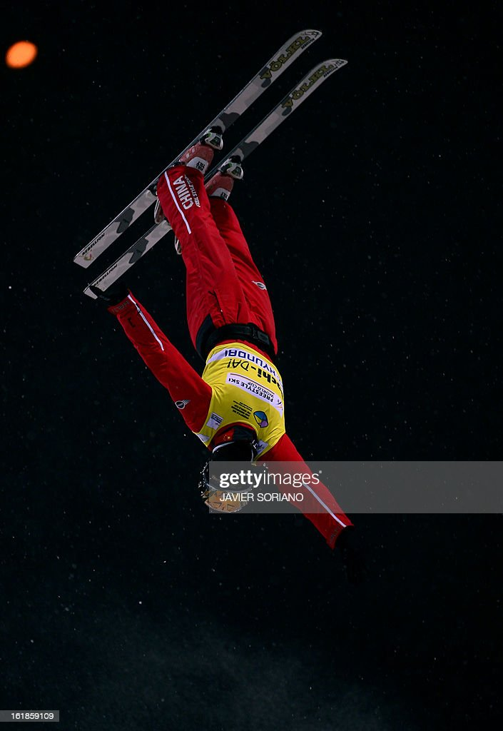 Chinese Mengtao Xu competes during Ladies' FreeStyle Aerials final race at the Snowboarding and Free Style World Cup Test Event at the Snowboard and Free Style Centre in Rosa Khutor near the Russian Black Sea resort of Sochi on February 17, 2013. Chinese Mengtao Xu won the race ahead of Australian Laura Peel and Swiss Tanja Schaerer.