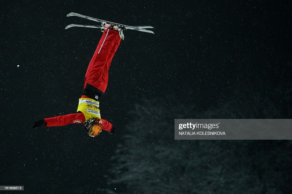 Chinese Mengtao Xu jumps during the Freestyle Ski World Cup Ladies Aerials Test Event at the Snowboard and Freestyle Center in Rosa Khutor near the Black Sea resort of Sochi, on February 17, 2013. China's Mengtao Xu won ahead of Australia's Laura Peel and Swiss Tanja Schaerer. AFP PHOTO / NATALIA KOLESNIKOVA