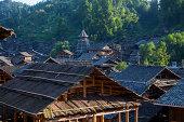 Chinese Miao village under the setting sun