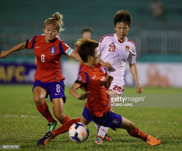 Chinese midfielder Zang Rui fights for the ball with SKorean defender Kim Hye Ri and midfielder Cho So Hyun during their Women's Asia 2014 Football...